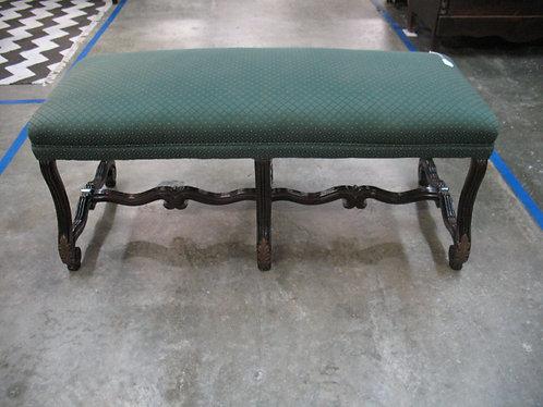 Vintage Chippendale Upholstered Bench