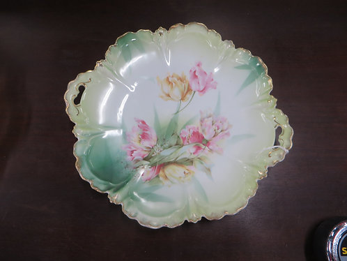Vintage R.S. Prussia Hand Painted Floral Handled Plate