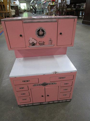 Retro 1950's Wolverine USA Children's Pink Tin Litho Kitchen Cupboard Cabinet