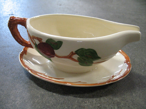 Vintage Franciscan American Apple Gravy Boat with Attached Underplate