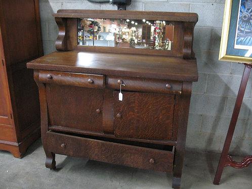 Antique Empire Tiger Oak Veneer Mirrored Buffet Server