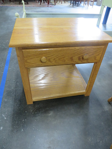 Vintage Oak End Table with Drawer