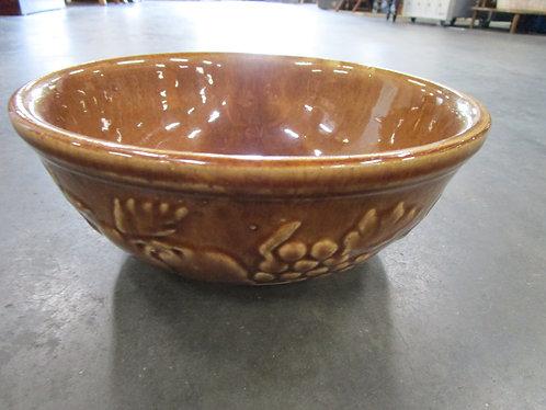 Vintage USA Brown Stoneware Fruit Motif Fruit Decor Bowl