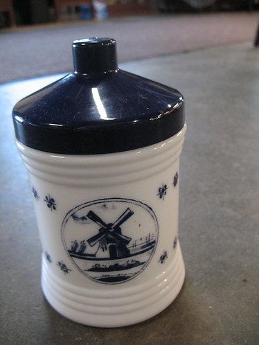 Vintage Arko White Milk Glass Delft Canister Jar