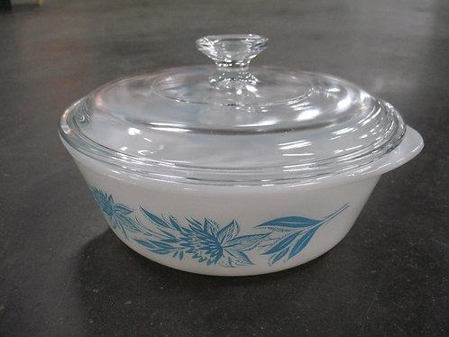 Vintage Glasbake Blue Floral Milk Glass 2 Quart Serving Bowl with Glass Lid