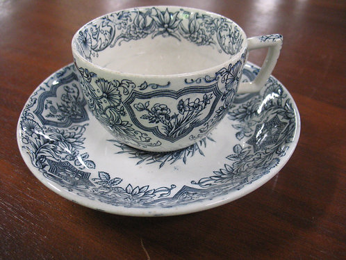 Antique (1880-1891) WH Grindley and Tunstall Ideal Blue Teacup & Saucer Set