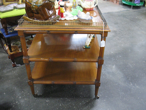 Vintage Bamboo Side/End Table with Brass Gallery Rail