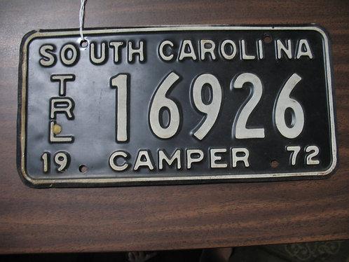 1972 South Carolina Camper License Plate