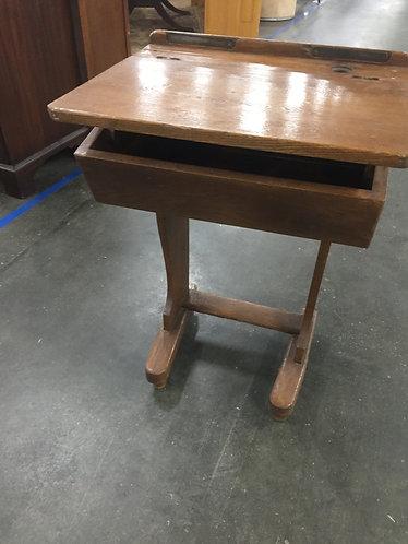 Vintage Trestle Base Flip Top Oak Student Desk