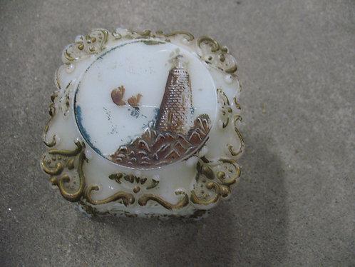 Antique Victorian Milk Glass Lighthouse Trinket Box