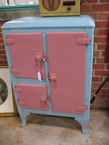 Vintage Painted Metal Three Door Icebox