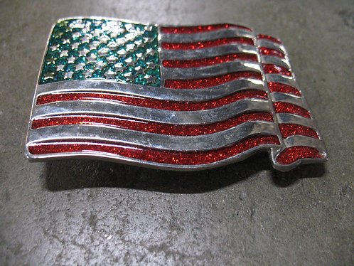 Vintage American Flag Red/Green Belt Buckle