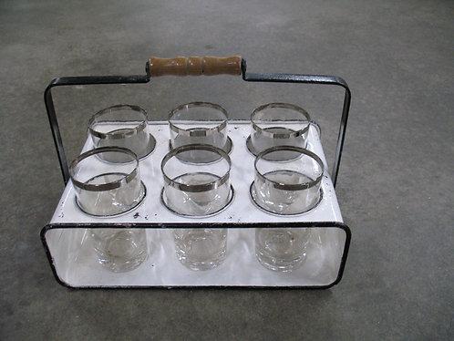 Vintage Enameled Glass Holder with Six Drink Glasses