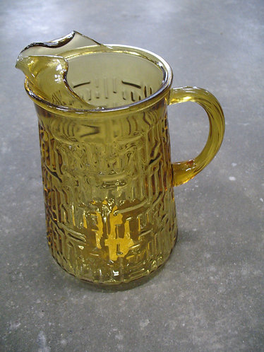 Vintage Amber Glass Woven Texture Pitcher