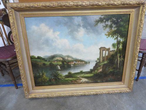"""Framed Original Signed Oil on Canvas """"European Landscape"""""""