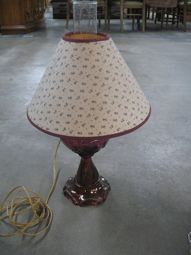 Vintage Homestead Sweetheart Cranberry Glass Converted Electric Lamp with Glass