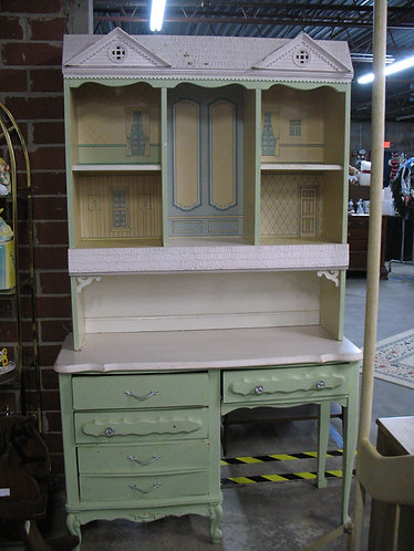 Vintage French Provincial Two Piece Desk with Doll House Hutch Top