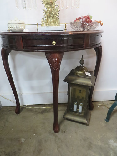 Vintage Mahogany Demi Lune Table with Brass Gallery Rail