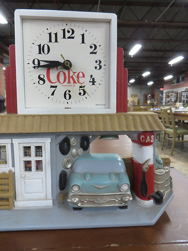 Vintage Coca-Cola Gas Station Figure Clock by Burwood Products