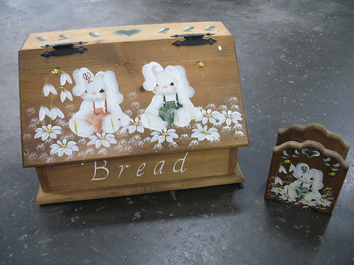 Vintage Handpainted Bread Box and Napkin Holder Set