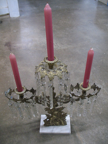 Antique Victorian Three Candle Brass and Marble with Prisms Girandole