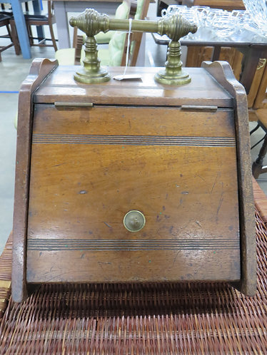 Vintage Wooden Coal Scuttle with brass handles