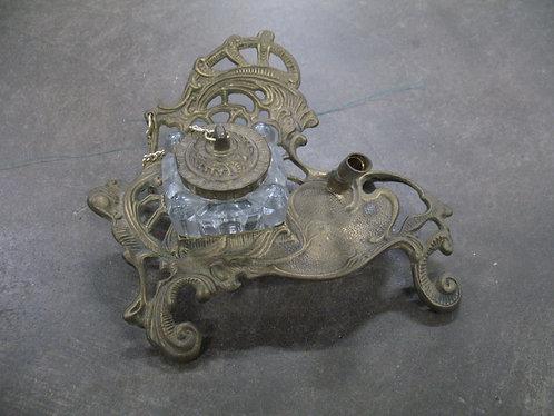 Vintage Teleflora Brass and Glass Bottle Inkwell Set