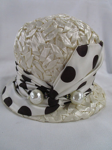 Vintage Ladies Cream Woven Bucket Hat with Brown Polka Dot Bow and Two Pearl Acc