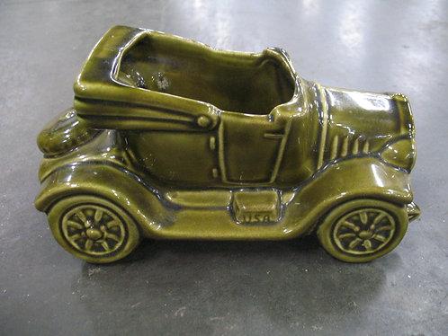 Vintage USA Olive Green Moss Ceramic Roadster Planter