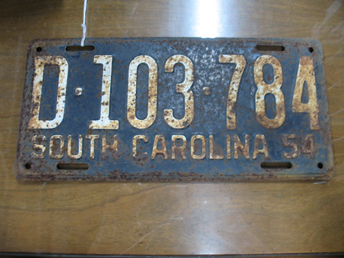 1954 South Carolina Automobile License Plate