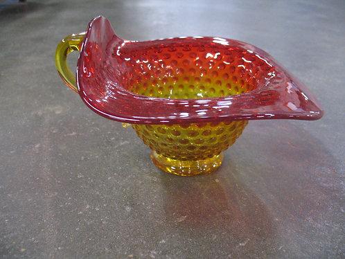 Vintage Mid Century Amberina Hobnail Bowl Vase