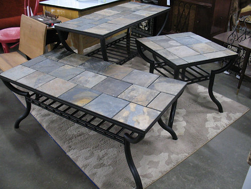 Indoor/Outdoor Metal & Slate Coffee Table, Console Table and End Table