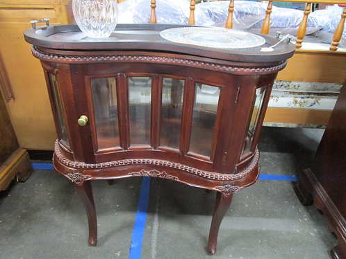 Mahogany Kidney Chocolate Curio Cabinet with Removable Top Tray