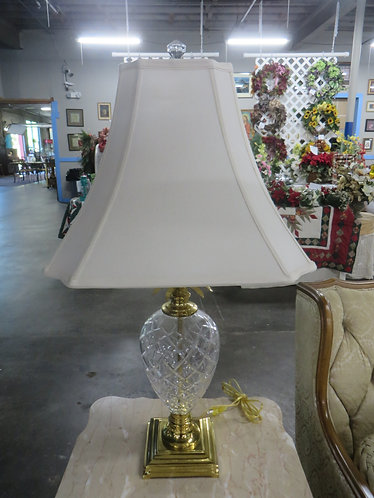 Vintage Crystal Pineapple and Brass Lamp with Shade