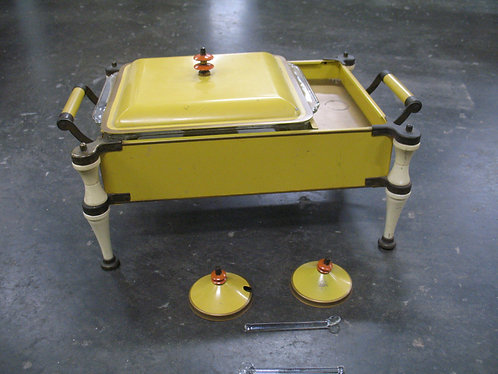 Mid Century Retro Enamel and Metal Warming Chafing Dish