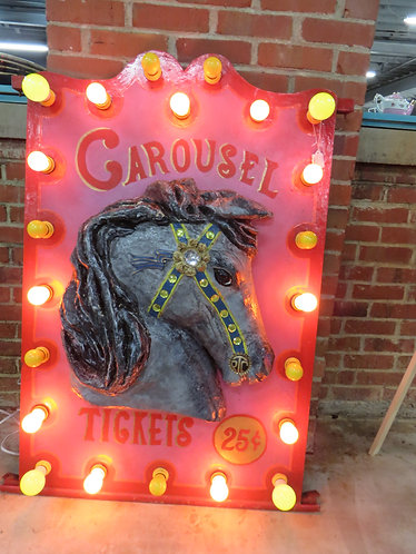 Vintage 1930's New Jersey Shore Flashing Carousel Ticket Sign with Horse