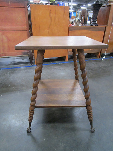 Antique Oak Barley Twist Ball & Claw Foot Occasional Table Plant Stand