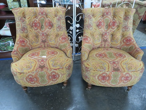 Vintage Paisley Upholstered Tufted Back Side Chairs