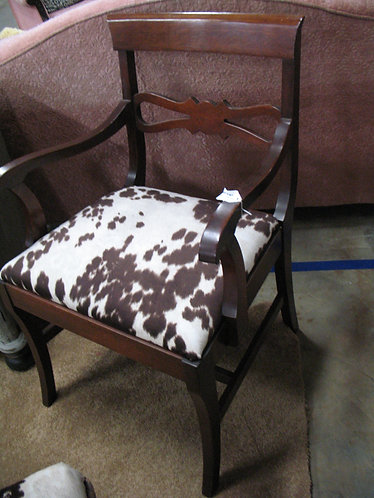 Vintage Accent Chair with Faux Cowhide Seat Upholstery
