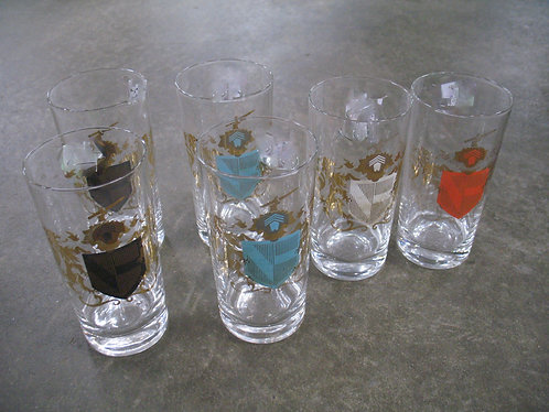 Vintage Federal Glass Camelot Coat of Arms Drinking Glasses Set of 6