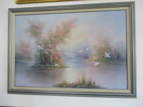 Original Signed and Framed Pastel Herons Oil on Canvas
