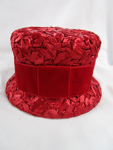 Vintage Ladies Unlined Red Woven Weave Hat with Red Velvet Bow