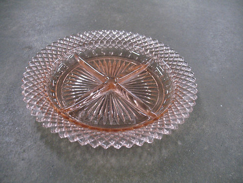 Vintage Anchor Hocking Miss America Pink Depression Glass Divided Dish