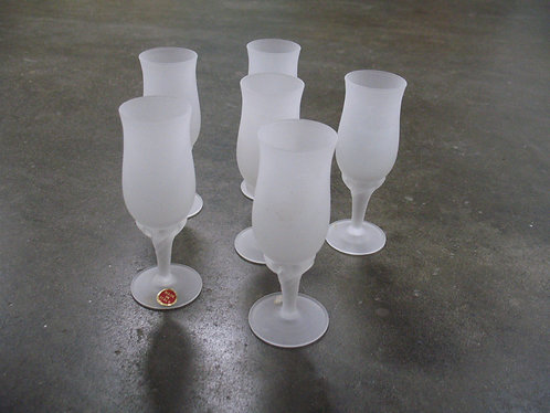 Vintage Frosted Glass Made in Italy Cordial Glasses Set of 6