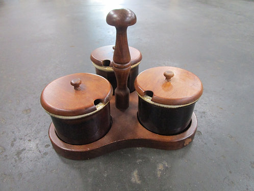 Vintage Brown Drip Glaze Condiment Set with Wood Caddy