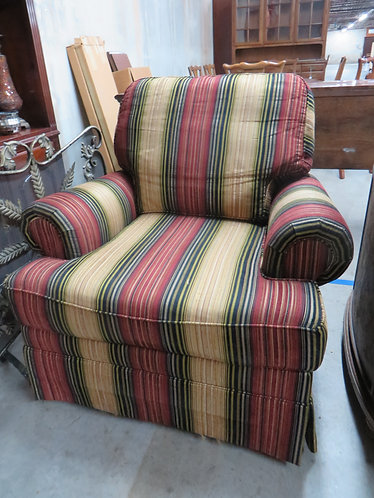 Striped Upholstered Arm Chair