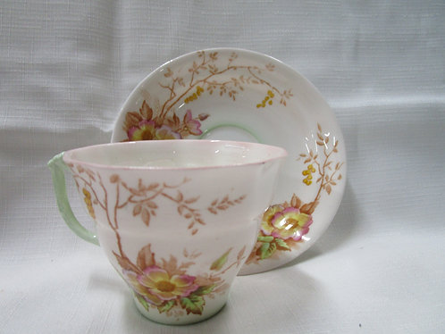 Old Royal Teacup and Saucer with Wild Roses and Green Tint