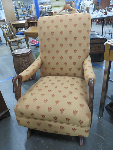 Vintage Platform Swan Arm Rocker with Bee Upholstery