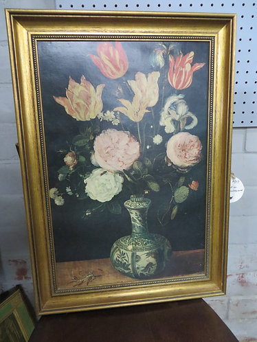 1960's Floral print on canvas, Professionally framed
