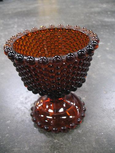 Vintage Dark Amber Imperial Hobnail Pedestal Bowl
